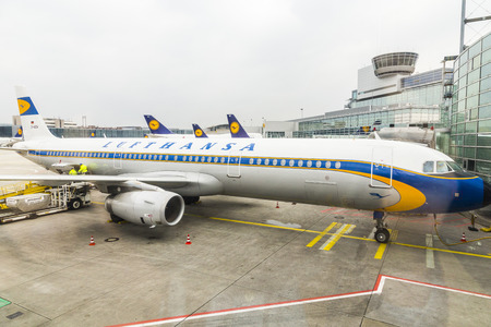 turned out: FRANKFURT, GERMANY - MARCH 17: Lufthansas Airbus A321 turned out the beautiful livery from the 1950s on March 17, 2014 in Frankfurt, Germany. They did it due to Lufthansas 50th year of service in 2005.
