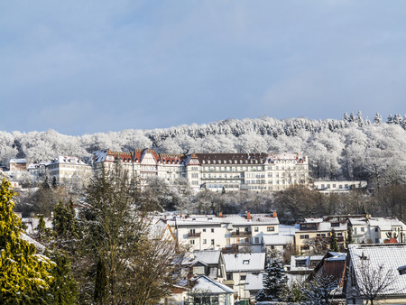 cold cure: RUPPERTSHAIN, GERMANY - JAN 31, 2015: The Zauberberg was a famous lunge health clinic from 1895 in Ruppertshain, Germany with abilities to cure and heal Tuberculosis TB.