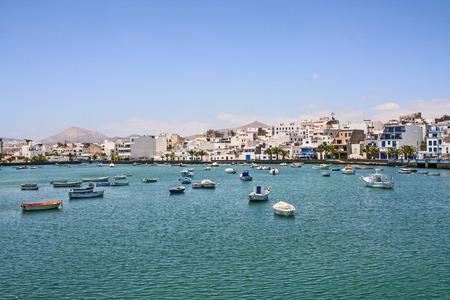 remodelled: ARRECIFE, SPAIN - AUG 7, 2006: Charco de San Gines on midday in Arrecife, Spain. The harbor area was remodelled by Canarian architect Caesar Manrique in 1984.