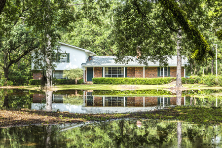 harmonic: CRAWFORDVILLE, USA - JULY 24, 2013: villa in swamp area gives a harmonic mirroring picture in the water of a flood in Crawfordville, USA. Editorial