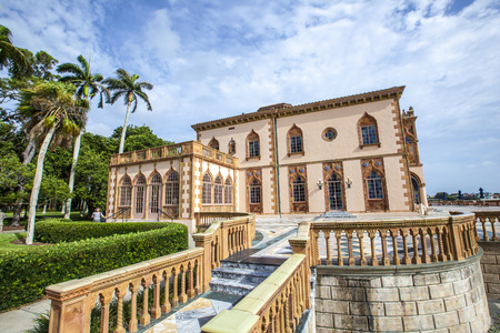 magnate: SARASOTA, USA - JULY 25, 2013: Ca dZan is an elaborate Venetian-style villa modeled in part after the Doges Palace in Venice in Sarasota, USA. Built by circus magnate John Ringling and his wife Mable. The 56-room house and art museum are open for tourist