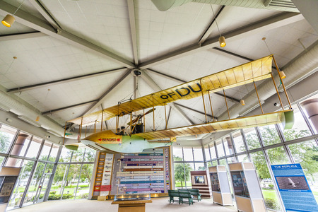 lasted: SAINT PETERSBURG, USA - JULY 25, 2013: replica of aircraft of Benoist in the museum in Saint Petersburg, USA. The St. Petersburg-Tampa Airboat Line began flying across Tampa Bay on January 1, 1914. It lasted only three months. Editorial