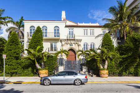 doorstep: MIAMI, USA - AUG 5, 2013: Versace mansion. In 1997 the world gasped as Gianni Versace was shot to death on the doorstep of his Miami South Beach mansion in Miami, USA.