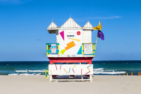 south beach: wooden life guard huts in art deco style at south beach Stock Photo