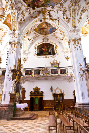 chappel: ANDECHS, GERMANY - JULY 11, 2011: famous baroque cloister of Andechs, Germany. The gotic church was restored at 1751 in Rococo style. Editorial