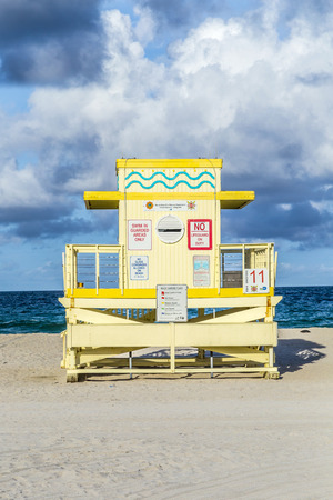 wood art: lifeguard tower on South Beach, Miami, Florida at sunset
