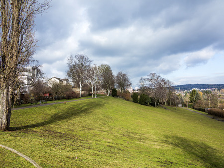 dark clouds: green park in frankfurt near Riederwald under dark clouds