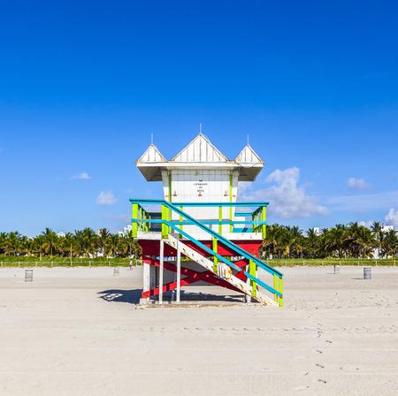 Lifeguard cabin on empty beach, Miami Beach, Florida, USA, safety concept. photo
