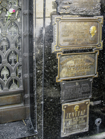 peron: BUENOS AIRES, ARGENTINA - JAN 26, 2015: Tomb of Eva Peron, Evita, the famous first lady of Argentina, La Recoleta Cemetery, Buenos Aires, Argentina.