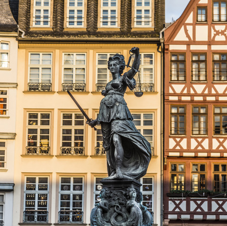 justitia: Justitia - Lady Justice - sculpture on the Roemerberg square in Frankfurt, built 1887