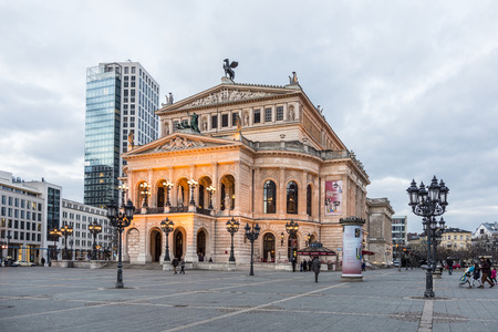 oper: FRANKFURT, GERMANY - FEB 22, 2015: the Old opera house in Frankfurt, Germany. Alte Oper is a concert hall build in 1970s on the site of and resembling the old Opera House destroyed in 1944.