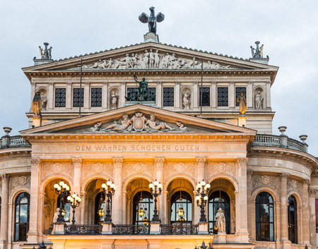 oper: famous Alte Oper in Frankfurt - Night view Stock Photo