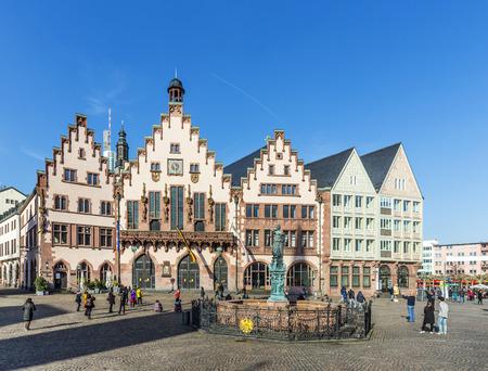 roemerberg: FRANKFURT, GERMANY - FEB 28, 2015: People on Roemerberg square in Frankfurt, Germany. Frankfurt is the fifth-largest city in Germany.