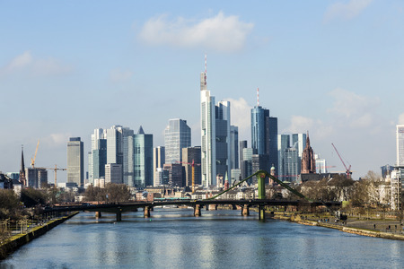 Summer view of the financial district in Frankfurt, Germany photo