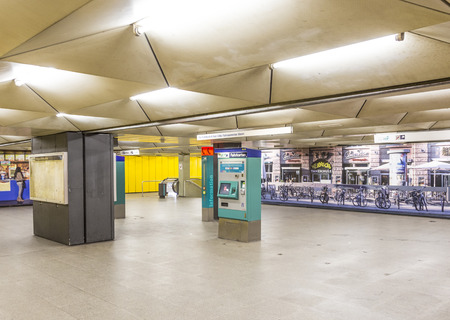 FRANKFURT, GERMANY - FEB 28, 2015:   metro station for S and U-Bahn Eschenheimer Turm in Frankfurt, Germany. The Metro station was inaugurated 1978 after 8 years under construction.