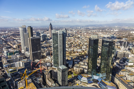 panorama of the financial district in Frankfurt, Germany