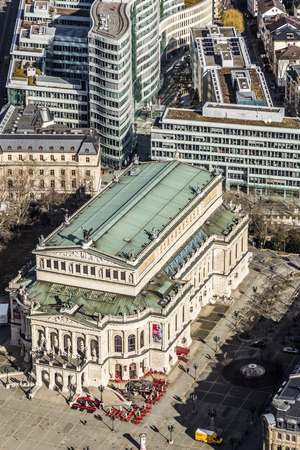alte: FRANKFURT, GERMANY - MARCH 3, 2015: aerial view: the Alte Oper  (Old Opera House), in Frankfurt am Main, Germany.