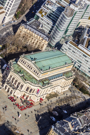oper: panorama of the financial district in Frankfurt, Germany Editorial