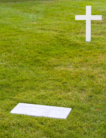 ARLINGTON, USA - JULY 15, 2010: grave of Edward moore Kennedy in Arlington, USA. He died in 2009.