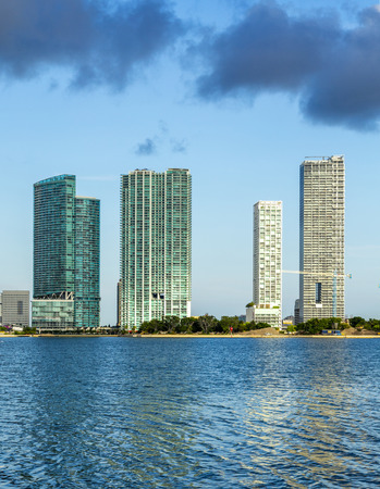 travel location: skyline of Miami Florida with  the water of Biscayne Bay. Panoramic skyline of the World famous travel location