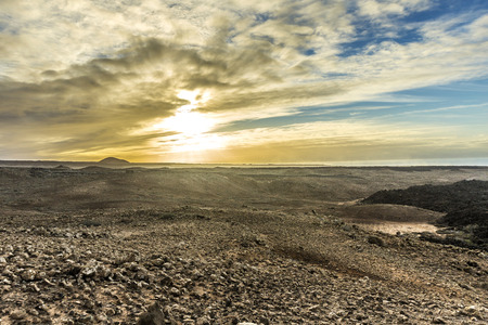 timanfaya: scenic sunset at Timanfaya volcanic national Park in Lanzarote Foto de archivo