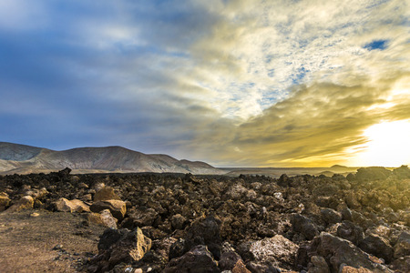 timanfaya: scenic sunset at Timanfaya volcanic national Park in Lanzarote Stock Photo