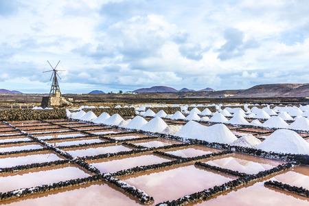 salt piles in the saline of Janubio in Lanzarote photo