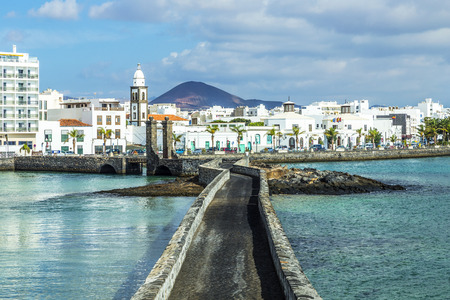lanzarote: sea view at Castle of San Gabriel and Arrrecife, Lanzarote, Canary Islands, Spain