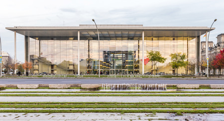parliamentary: BERLIN, GERMANY - NOV 27, 2014 : The Paul Loebe Haus parliamentary building. The glass and concrete building houses offices for the Bundestags parliamentary committee  in Berlin, Germany. Editorial