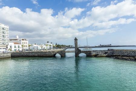 draw bridge: sea view at Castle of San Gabriel, Lanzarote, Canary Islands, Spain