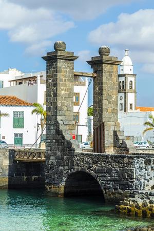 draw bridge: sea view at Castle of San Gabriel and Arrrecife, Lanzarote, Canary Islands, Spain