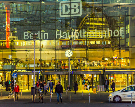 u bahn: BERLIN, GERMANY - OCT 27, 2014: Berlin main station frontview by night in Berlin, Germany. This railway station came into full operation after a ceremonial opening on 26 May 2006.