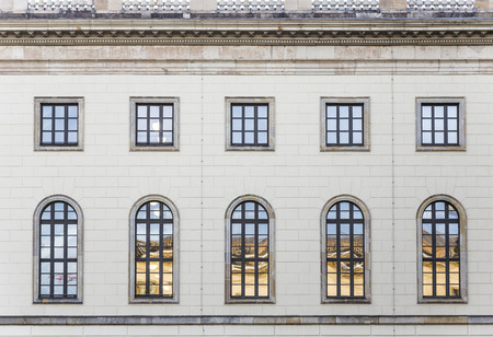 alma: historic  facade of Humboldt university in Berlin from 1810 - view from public place