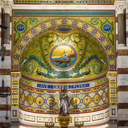 MARSEILLE, FRANCE - APRIL 1, 2015: Notre-Dame de la Garde Interior in Marseilles, France. The Neo-Byzantine church was built by the architect Henri-Jacques Esperandieu on the foundations of an ancient fort. Editorial
