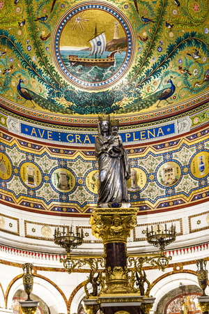 garde: MARSEILLE, FRANCE - APRIL 1, 2015: Notre-Dame de la Garde Interior in Marseilles, France. The Neo-Byzantine church was built by the architect Henri-Jacques Esperandieu on the foundations of an ancient fort. Editorial