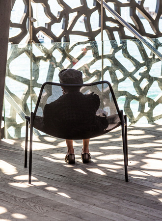 civilizations: MARSEILLE, FRANCE - APR 5, 2015 : lady relaxes at  Museum of European and Mediterranean Civilizations. MuCEM was inaugurated inJune 2013 when Marseille was designated as the European Capital of Culture.