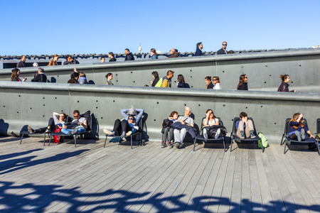 civilizations: MARSEILLE, FRANCE - APR 5, 2015 : people relax at Museum of European and Mediterranean Civilizations. MuCEM was inaugurated inJune 2013 when Marseille was designated as the European Capital of Culture.