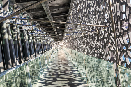 civilizations: MARSEILLE, FRANCE - APR 5, 2015 : Museum of European and Mediterranean Civilizations. MuCEM was inaugurated on 7 June 2013 when Marseille was designated as the European Capital of Culture.
