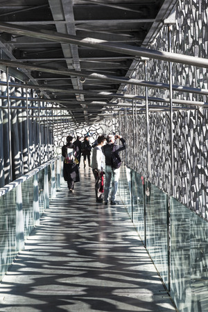 european culture: MARSEILLE, FRANCE - APR 5, 2015 : people cisit  Museum of European and Mediterranean Civilizations. MuCEM was inaugurated on 7 June 2013 when Marseille was designated as the European Capital of Culture. Editorial