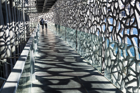 civilizations: MARSEILLE, FRANCE - APR 5, 2015 : people cisit  Museum of European and Mediterranean Civilizations. MuCEM was inaugurated on 7 June 2013 when Marseille was designated as the European Capital of Culture. Editorial