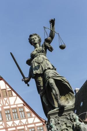 sword act: tatue of Lady Justice (Justitia) in Frankfurt, Germany