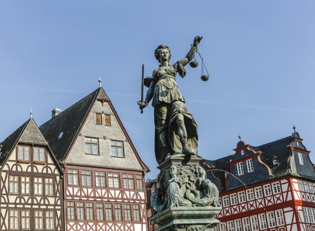 judicature: statue of Lady Justice (Justitia) in Frankfurt, Germany
