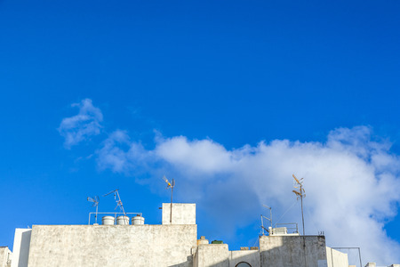 white washed: detail of architecture in Arrecife with white washed walls Stock Photo