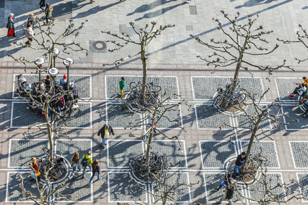 paveway: FRANKFURT, GERMANY- APR 8, 2015 : people walk along the Zeil in Midday in Frankfurt, Germany. Since the 19th century it is of the most famous and busiest shopping streets in Germany