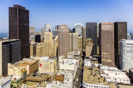 SAN FRANCISCO, USA - JULY 7, 2008: view from the rooftop in San Francisco, USA.  The city is the site of over 410 high-rises,44 of which stand taller than 400 feet.