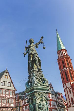 advocate symbol: statue of Lady Justice (Justitia) in Frankfurt, Germany
