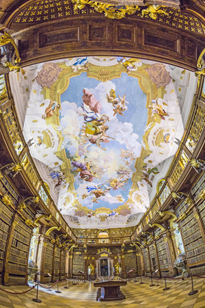 MELK, AUSTRIA - APRIL 23, 2015: The luxurious interior of the Library in Melk Abbeyin Melk, Austria. Famous Melk Abbey Library has over 100,000 Volumes in Collection.