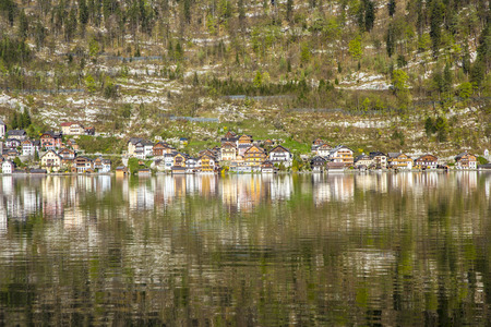 Hallstatt town with traditional wooden houses, Austria, Europe photo