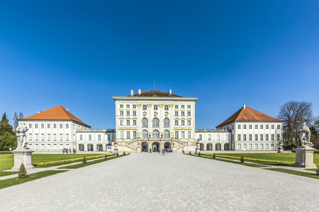 nymphenburg palace: MUNICH, GERMANY -APR 20, 2015: people at Nymphenburg Palace, the summer residence of the Bavarian kings, in Munich, Germany. This palace welcomes 300,000 visitors per year.
