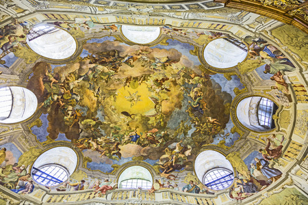 est: VIENNA, AUSTRIA - APR 24, 2015:  ceiling of beautiful Austrian National Library in Vienna, Austria. Est in 18th century, the largest library in Austria with 7.4 mill items. Editorial